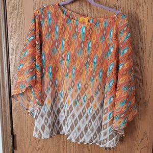 Ruby Rd multi-color, fitted poncho  Size 0X